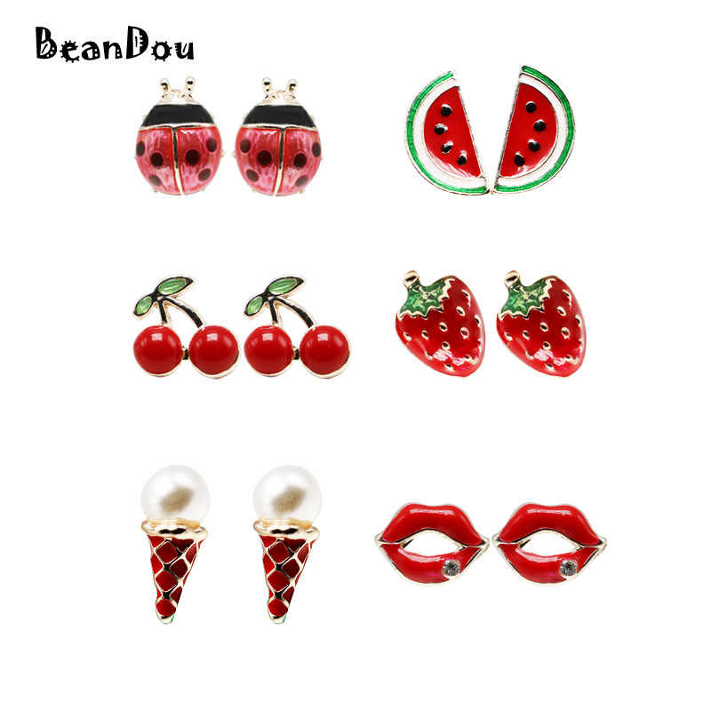 1pair fashion ear studs earrings pendientes ladybug lips icecream cherry watermelon strawberry oil drip red lovely fruite brinco