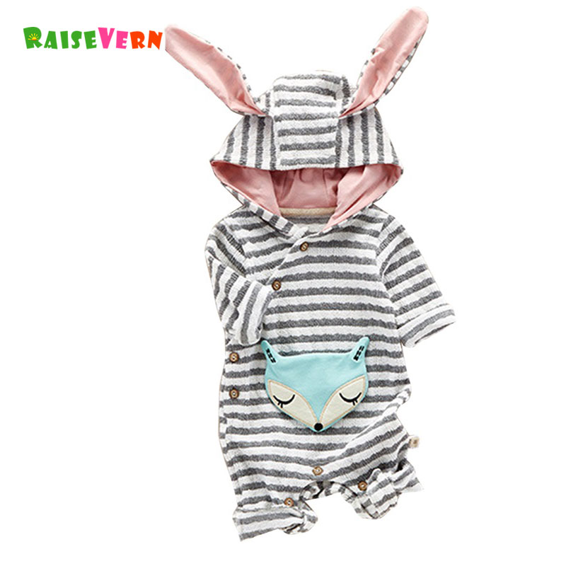 Fox Appliqued Striped Hooded Jumpsuit for Baby Boy Girl Animal Long Sleeve Rompers Newborn Pajamas Costume Kids Infant Clothes