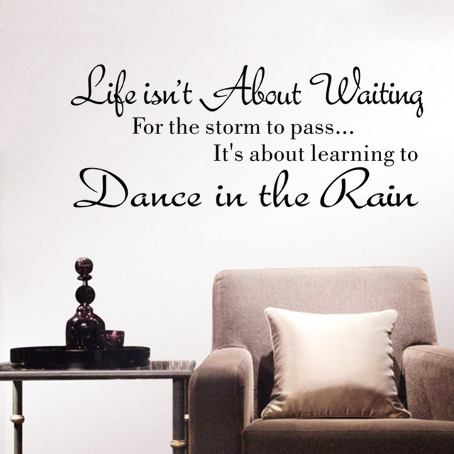 Simple And Stylish English Words Stickers Life Isnu0027t About Waiting Wall  Stickers Quote Dancing The In Rain Wall Decal For Room
