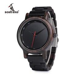 BOBO BIRD New Black Wooden Watches Men Wood Strap Quartz Analog Luxury Gifts Wristwatch Male Relogio C-P10 Drop Shipping