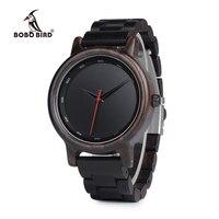 BOBO BIRD New Black Wooden Watches Men Wood Strap Quartz Analog Luxury Gifts Wristwatch Male Relogio C P10 Drop Shipping