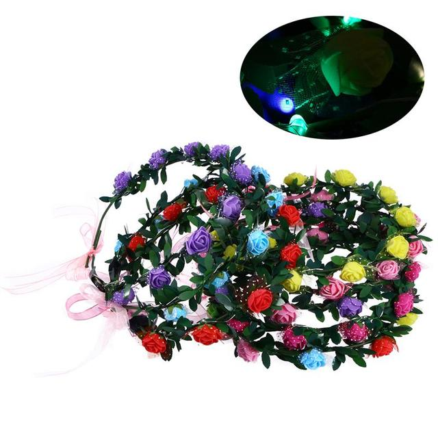 5pcs LED Floral Crown Luminous Beautiful Flower Headband Garland Headband  Floral Wreath for Festival Wedding Party Stage Play b0df391fcdb