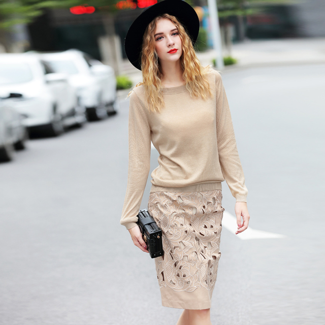 Spring Autumn Fashion Women's Warm Knitted 2 Piece Set Sweater+Straight Skirt Slim Hollow Out Runway Set Suit High Quality