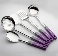 5 Pieces Set Stainless Steel Kitchen Utensils High Quality Hot Insulation Handle Kitchen Tools Set Rice Spoon Free Shipping