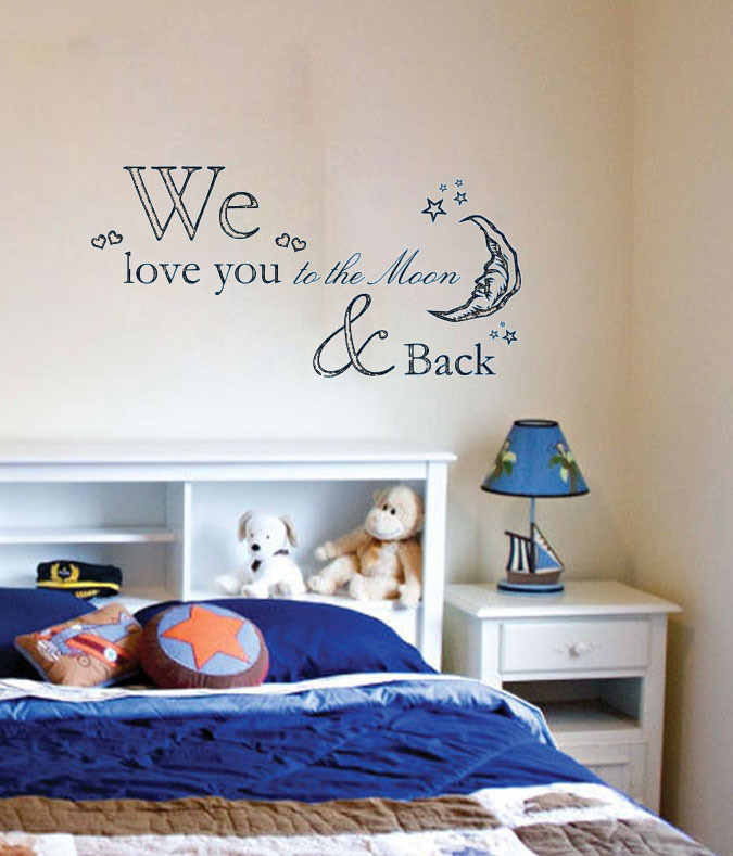 we love you to the moon star back home decoration wall art vinyl