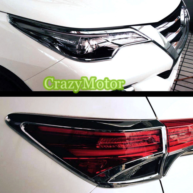 For Toyota Fortuner 2016 2017 Chrome Front Head + Rear Tail Light Cover  Trim Accessories Car