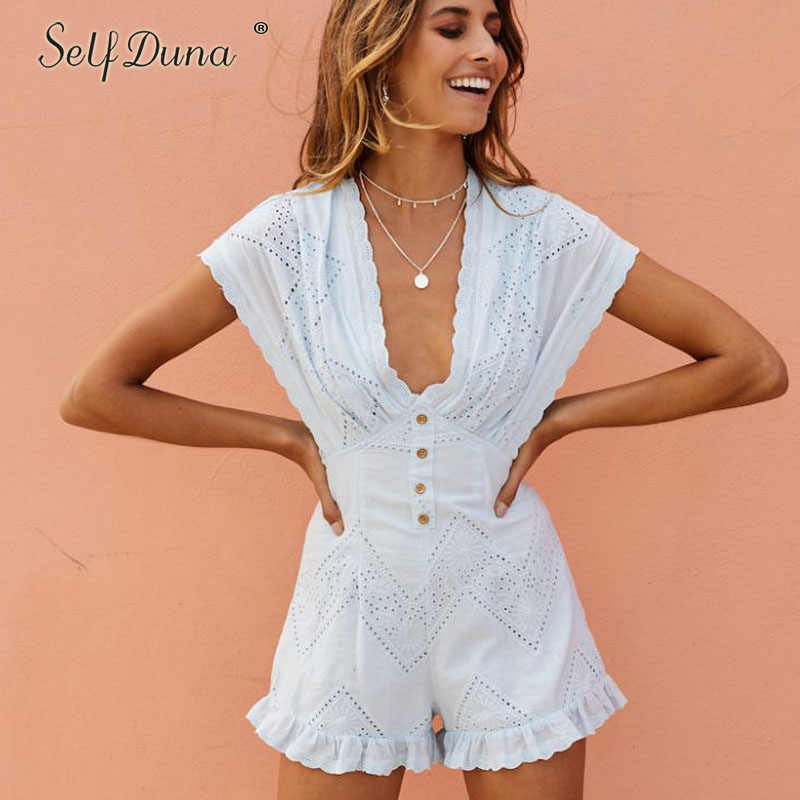 0d1fa589b36 Self Duna 2018 Summer Short White Jumpsuit Romper Embroidery Backless V  Neck Embroidered Beach Sexy Ruffle