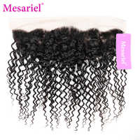 Mesariel Non-Remy Hair Brazilian Kinky Curly 13x4 Free Part Lace Frontal Natural Color 100% Human Hair Lace Frontal Closure