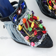 2018 New Arrival Summer Thin High Heels Open Toe Denim Women Sandals Fashion Brand Beading Woman Peep Toe Pump Shoes