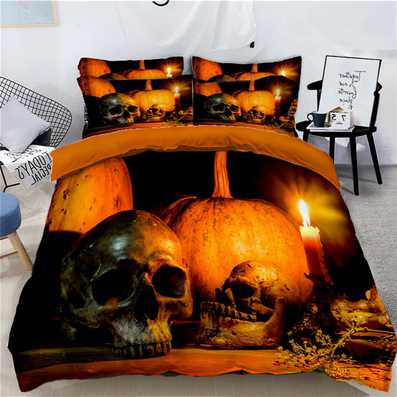 Halloween Bedding Set for Kids adults 4Pcs Funny Gift 3D Duvet Cover Set Pumpkin Decor Bed