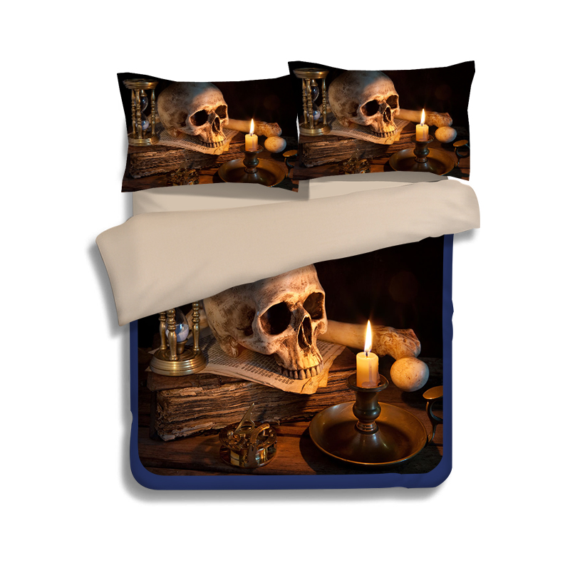 Hy Skull Print Bedding Sets Twin Full Queen King Size Duvet Covers European Bedroom Decoration Black Brown In From Home