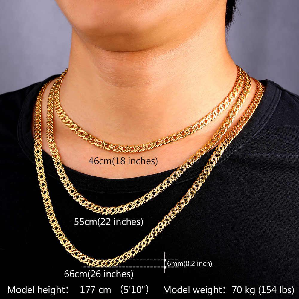 男性リンクチェーンネックレス男性ジュエリー卸売ゴールド//ローズゴールドカラー6ミリメートル3サイズ卸売n212