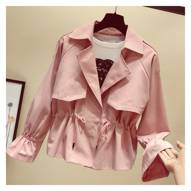 2019 New Spring Fashion Solid Short   Trench   Coat Adjustable Waist Women Lapel Long Sleeve Windbreaker Female Casual Outerwear