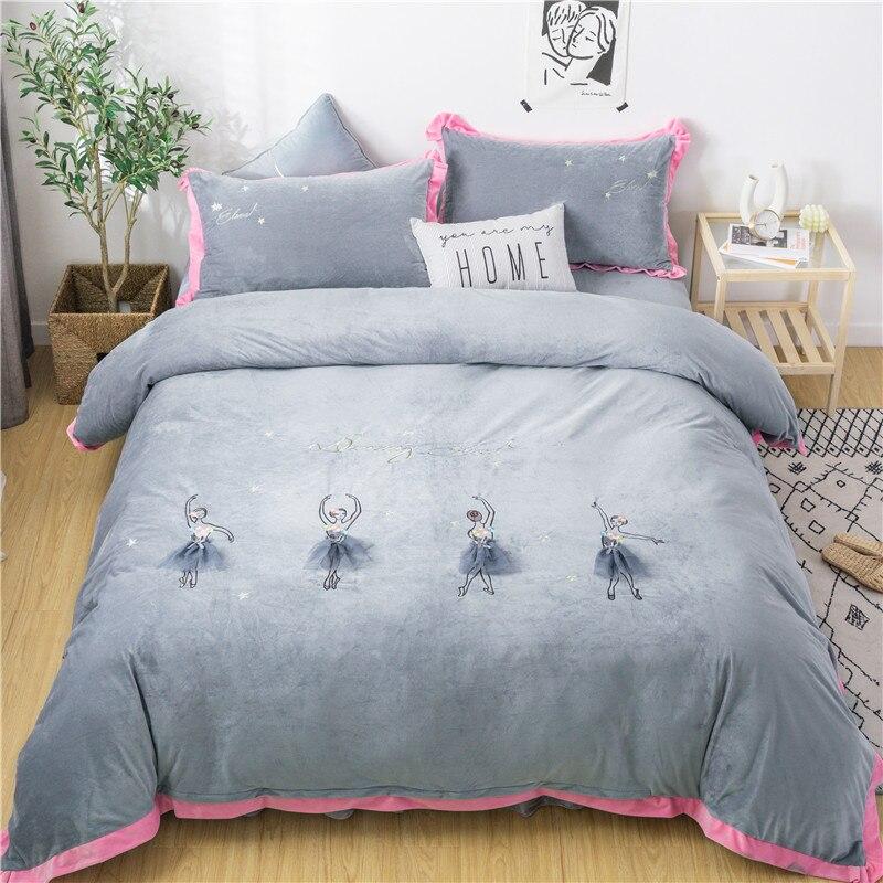 New Gray Purple Pink Ballet Girl Embroidery Winter Fleece Fabric Girl Bedding Set Flannel Duvet Cover Bed Sheet/Linen Pillowcase