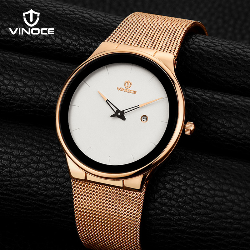 VINOCE Mens Watch Stainless Steel 2018 Simplicity Luxury Quartz Watch Men Top Brand Fashion Business Waterproof Gold natate men business fashion luxury brand chenxi men watch intermetallic gold stainless steel quartz waterproof watch 0140