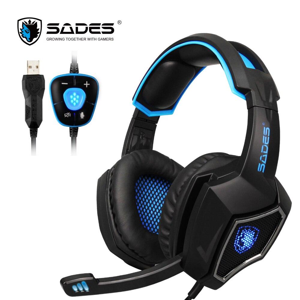 SADES Geist Wolf 7,1 Surround Sound Stereo USB Gaming Headset Kopfhörer Mic Atmen LED Licht