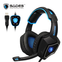 SADES Spirit Wolf 7 1 Surround Sound Stereo USB Gaming Headphone With Mic Breathing LED Light