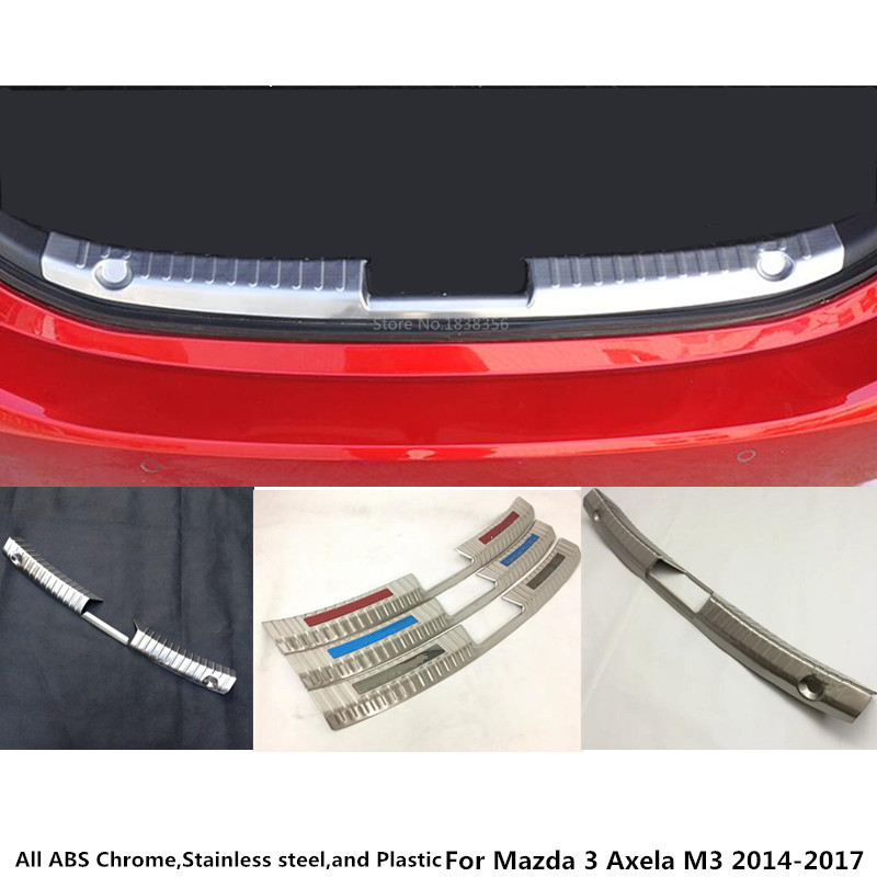 For Mazda 3 Axela M3 2014 2015 2016 2017 car body inner inside Rear Bumper trim Stainless Steel Scuff Sill trunk plate pedal for hyundai tucson 2015 2016 2017 2018 car inner inside rear back bumper trim stainless steel scuff sill trunk plate pedal 1pcs