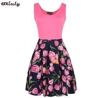 Oxiuly Audrey Hepburn Robe Retro Rockabilly Dress Sleeveless 60s Swing Rose Floral Print Pin Up Women