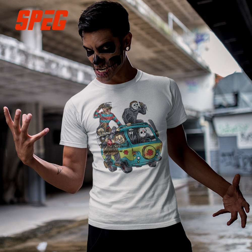 T Shirts Men The Massacre Machine Horror T-Shirt Chucky Jason Voorhees Michael Myers Tees Shirt Freddy Short Cotton Short Sleeve