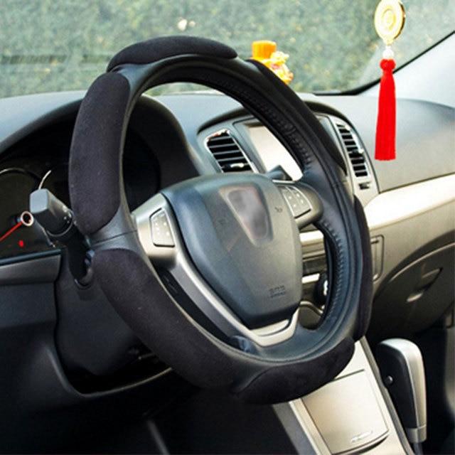 سيارة غطاء عجلة القيادة المضادة للانزلاق دائم الجلود الاصطناعية سيارة يغطي السيارات الديكور الداخلية اكسسوارات