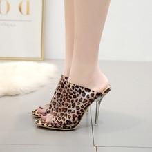 2019 Woman Pumps 11cm Crystal High Heel Shoes Leopard Women
