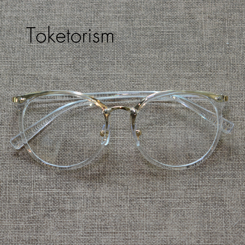 Toketorismo nueva moda marcos de gafas doradas hombres mujeres vintage oculos transparente diseñador de marca de anteojos 1569