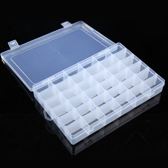Portable New Useful 36 Grid Adjustable Clear Plastic Bead Rings
