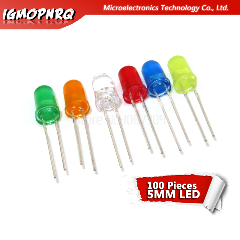 100pcs 5mm LED Diode 5mm Round Head Fog Red/yellow/white/green/blue Led Kit