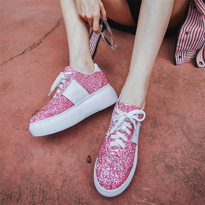 Plates Casual formes argent Nouvelle Femme Respirant Fedonas Chaussures Corss Sneakers Danse Confort Appartements attaché Noir Talons Marque Mode rose qnCpR