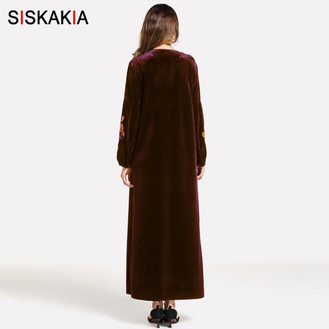 Siskakia Velvet Long Dress Vintage Ethnic Floral Embroidery Women Dress Winter 2018 High Waist Swing A line Dresses Maxi Female