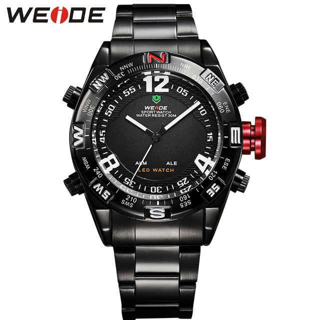 WEIDE Casual Man Watches Quartz Analog Digital LED Multi-Functional Big Dial Display 3ATM Water Resistant Luxury Top Brand Clock