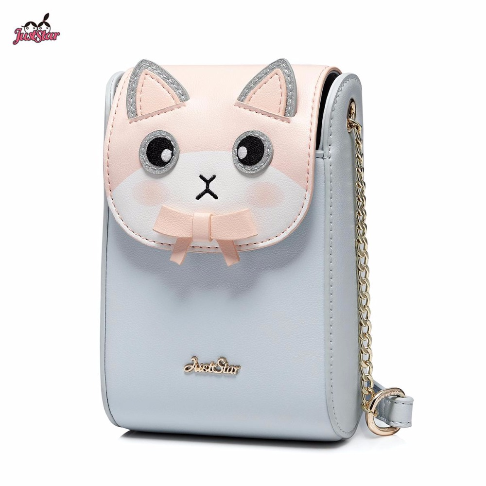 Just Star Brand New Design Adorable Bow Cat PU Leather Women Chains Mini Shoulder Bag Girls Ladies Cross body Small Phone Bag just star brand new design fashion flowers pu leather women s handbag ladies girls shoulder cross body drawstring bucket bag