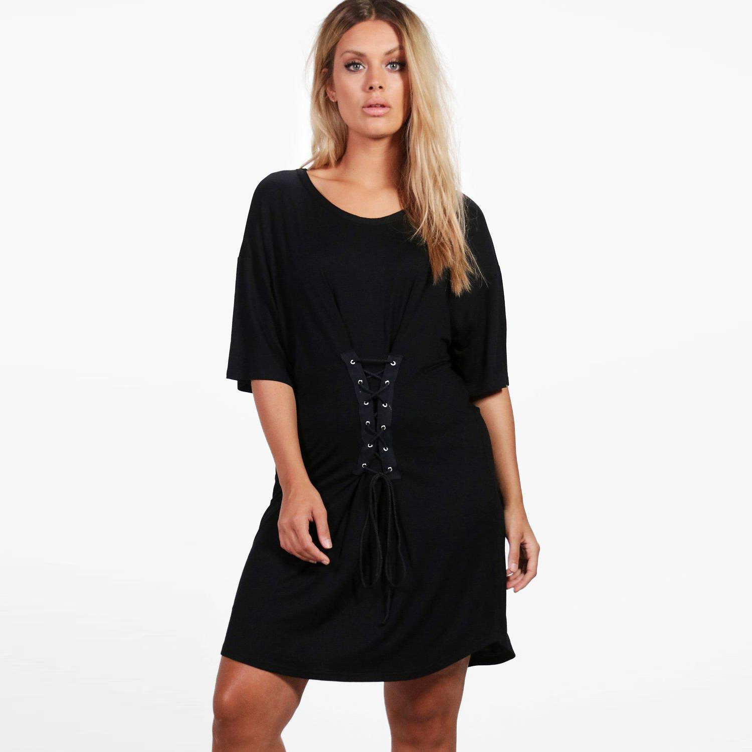 74e4a1172a8 MCO Autumn Ulitimate Easy Lace Up Front Plus Size Womens Dress Basic Black Tunic  Dresses Oversized Loose Women Clothing 6XL 7XL-in Dresses from Women s ...