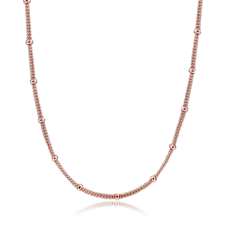 Fashion Rose Golden Jewelry Beaded Necklaces for Women Long Chains Femme Collier Sterling Silver Necklaces Jewelry 2019 Spring