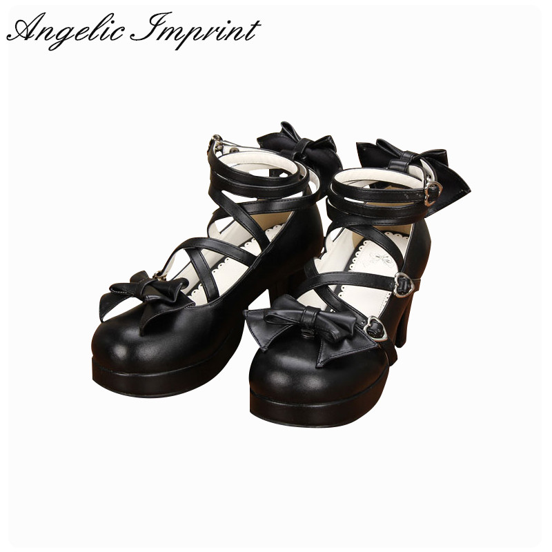 Japanese Lolita Cosplay Shoes Spike Heels Black PU Leather Criss Cross 6.5cm High Heel Pumps