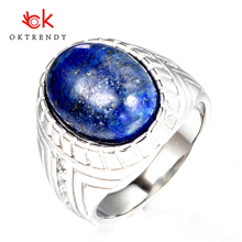 Oktrendy Casual Men Ring Blue CZ Stone Square Top Stainless Steel Silver Color Daily Male Alliance Homme Rings Jewelry