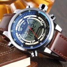 Мода & Casual AMST мужские Кварцевые Часы Кожаный Ремешок Армии Водонепроницаемые Наручные Relogio Masculino Часы Мужчины спорт Цифровой часы