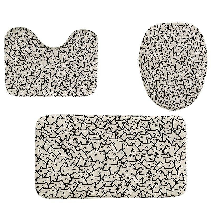 4 Pcs Hause Badezimmer Dekor Set Katze Muster Wc Sitz Abdeckung Bad Matte Set + Wasserdicht Dusche Vorhang