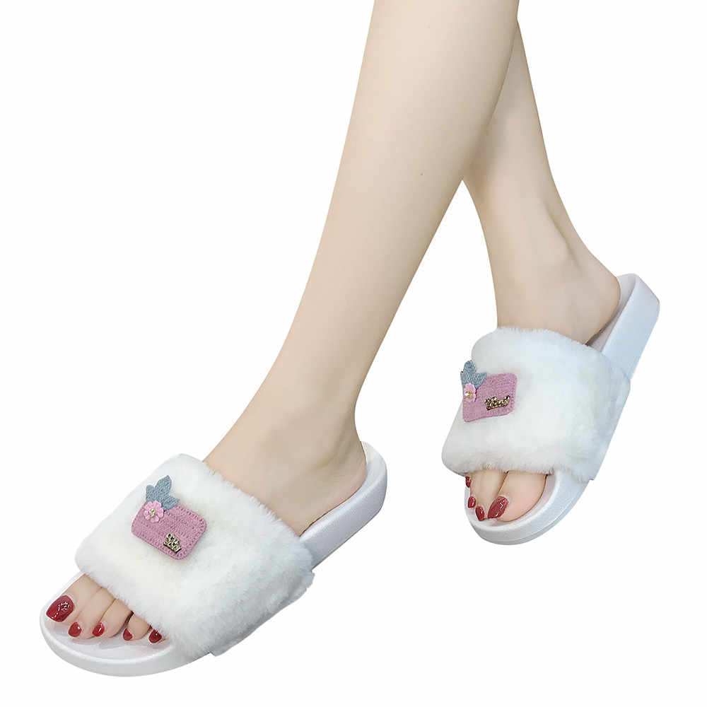 f6881df07cd8 YOUYEDIAN Women s sandals Ladies Slip On Sliders Fluffy Faux Fur Flat  Slippers Flip Flop Sandals 2018