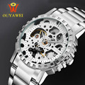 Ouyawei reloj de cuero mecánico automático esquelético de lujo hueco de oro del diseño relojes de los hombres causal marca reloj de los hombres heren horloge