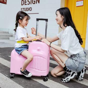 Moda dziecięca Rolling bagaż chłopiec śliczne walizki na kółkach dzieci noszą walizki dziewczyny cartoon pokrowiec na wózek tanie i dobre opinie Spinner Bagaż podręczny ons Unisex 51 60m 3-5kg 25 28cm 50 55cm GraspDream blue yellow red pink Travel bag Luggage bag Suitcase