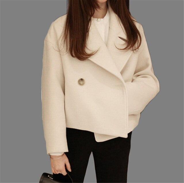 3b0f9dc02de9d Women Woolen Coat 2016 Autumn Winter Vintage Wool Coats Turn-down Collar  Bodycon Thicken Short