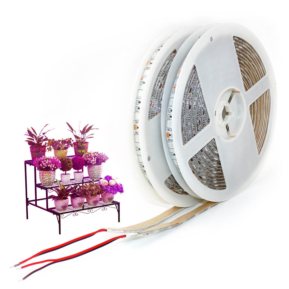 LED Plant Grow Lights 1M 2M 3M 4M 5M SMD 5050 DC12V Flexible LED Grow Strip Light For Greenhouse Hydroponics Plant Vegetable