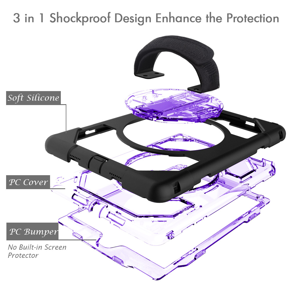 Miesherk Case for iPad Pro 9.7 Universal 360 Rotating Hard PC Kickstand Back Cover with Hand Strap Neck Strap for 9.7 inch