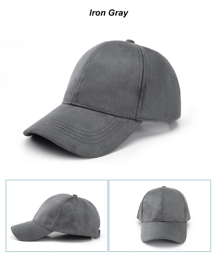 WEARZONE Unisex Soft Suede Baseball Cap Casual Solid Sports Hat Adjustable Breathable Dad Hats for Women Men 19