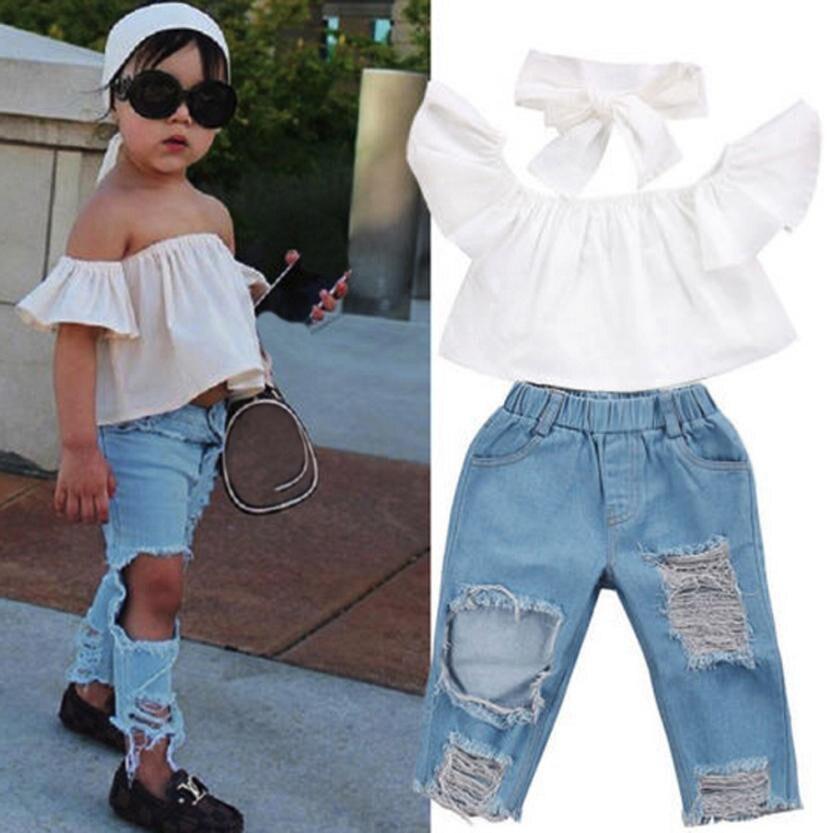 2018 Fashion Spring 3Pcs Kids Baby Girls Off shoulder Crop Tops + Denim broken hole pants Jean Headband clothing set 12M-5T NEW