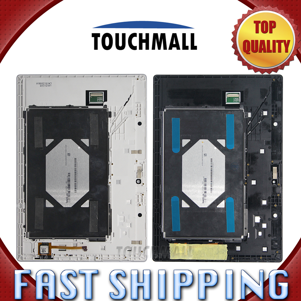 For New LCD Display Touch Screen+Frame Assembly Replacement Lenovo Tab 2 A10-70 A10-70F A10-70L 10.1 Black White Free Shipping 5pcs lot free shipping for iphone 5s lcd display touch screen digitizer frame assembly white black