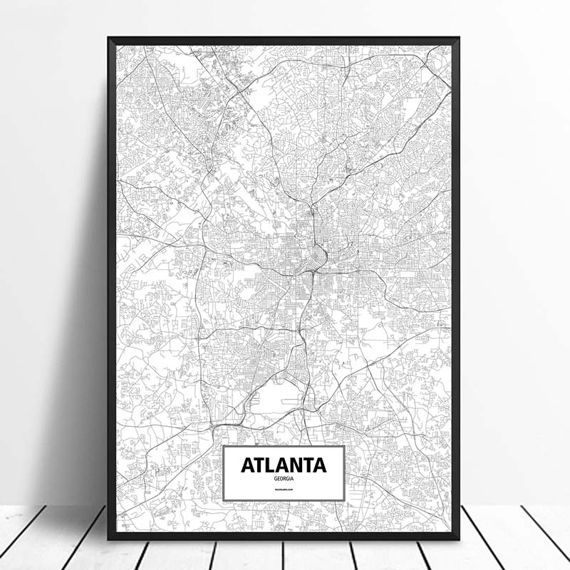 US $10.78 10% OFF|ATLANTA, GEORGIA, UNITED STATES Black White Custom World  City Map Posters Canvas Prints Nordic Style Wall Art Home Decor-in Painting  ...