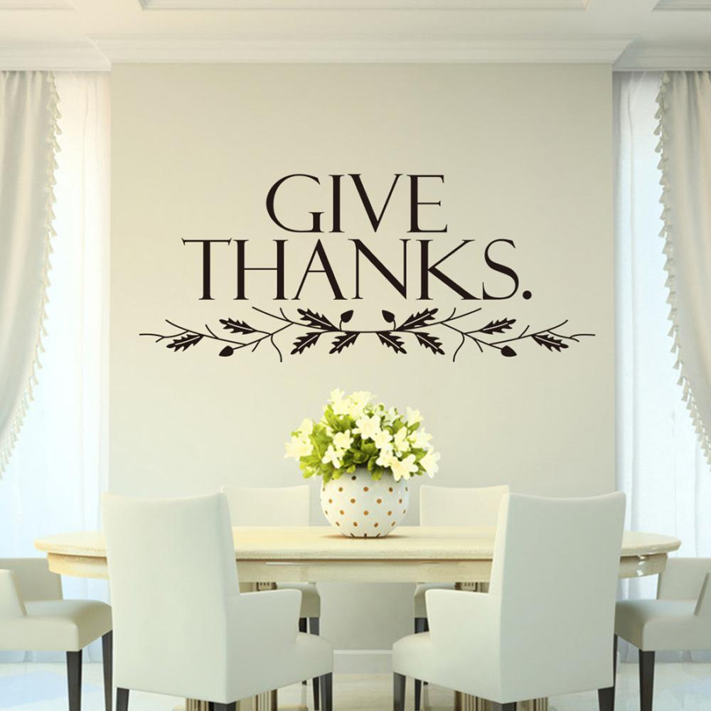 Christian kitchen decor - Free Shipping Hotsale Give Thanks Art Quote Home Decor Stickers Christian Family Wall Decal Stickers